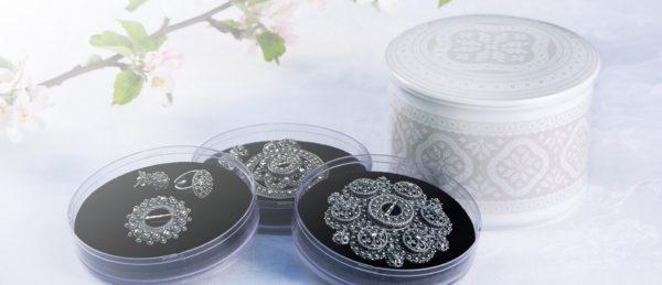 Telerosa - Tradisjon Grå stort smykkeskrin i porselen med indre lufttett skrin