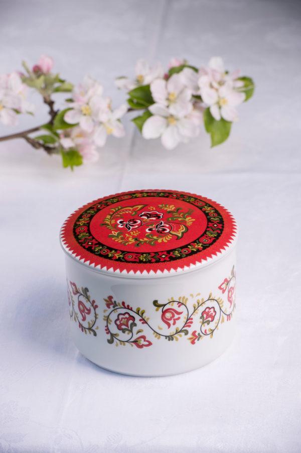 Telerosa - Bunad - Øst-Telemark stort smykkeskrin i porselen