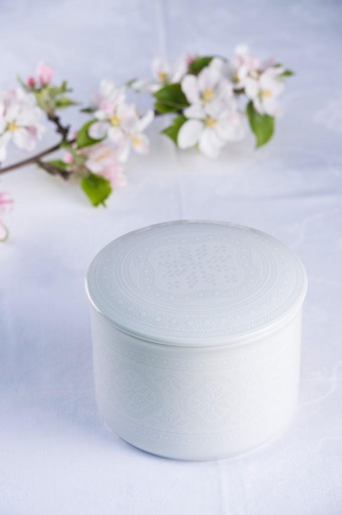 Telerosa - Tradisjon Hvit stort smykkeskrin i porselen